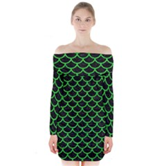 Scales1 Black Marble & Green Colored Pencil Long Sleeve Off Shoulder Dress