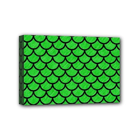 Scales1 Black Marble & Green Colored Pencil (r) Mini Canvas 6  X 4