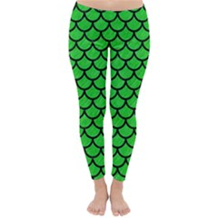 Scales1 Black Marble & Green Colored Pencil (r) Classic Winter Leggings