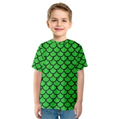 Scales1 Black Marble & Green Colored Pencil (r) Kids  Sport Mesh Tee