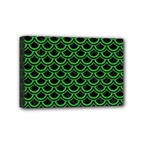 Scales2 Black Marble & Green Colored Pencil Mini Canvas 6  X 4
