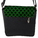 SCALES2 BLACK MARBLE & GREEN COLORED PENCIL Flap Messenger Bag (S) View1
