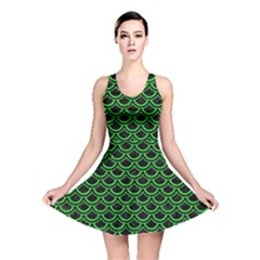 Scales2 Black Marble & Green Colored Pencil Reversible Skater Dress