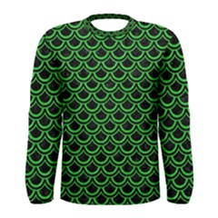 Scales2 Black Marble & Green Colored Pencil Men s Long Sleeve Tee