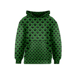 Scales2 Black Marble & Green Colored Pencil Kids  Pullover Hoodie