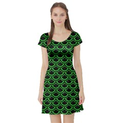 Scales2 Black Marble & Green Colored Pencil Short Sleeve Skater Dress
