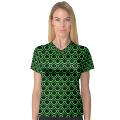 Scales2 Black Marble & Green Colored Pencil V Neck Sport Mesh Tee