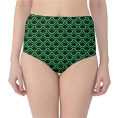 Scales2 Black Marble & Green Colored Pencil High Waist Bikini Bottoms