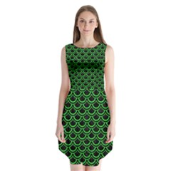 Scales2 Black Marble & Green Colored Pencil Sleeveless Chiffon Dress
