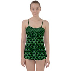 Scales2 Black Marble & Green Colored Pencil Babydoll Tankini Set