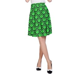 Scales2 Black Marble & Green Colored Pencil (r) A Line Skirt