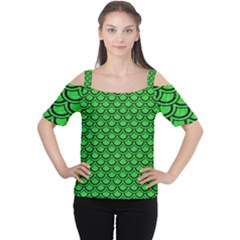 Scales2 Black Marble & Green Colored Pencil (r) Cutout Shoulder Tee