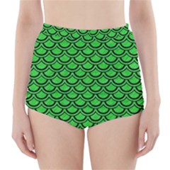 Scales2 Black Marble & Green Colored Pencil (r) High Waisted Bikini Bottoms