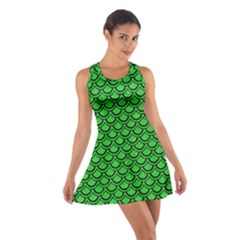 Scales2 Black Marble & Green Colored Pencil (r) Cotton Racerback Dress