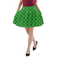 Scales2 Black Marble & Green Colored Pencil (r) A Line Pocket Skirt