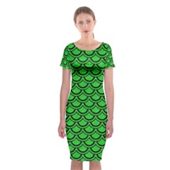 Scales2 Black Marble & Green Colored Pencil (r) Classic Short Sleeve Midi Dress
