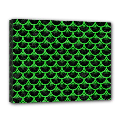 Scales3 Black Marble & Green Colored Pencil Canvas 14  X 11