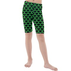 Scales3 Black Marble & Green Colored Pencil Kids  Mid Length Swim Shorts