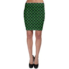 Scales3 Black Marble & Green Colored Pencil Bodycon Skirt