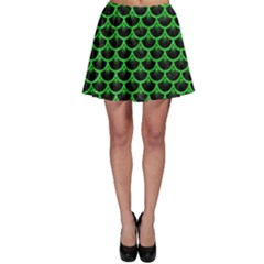 Scales3 Black Marble & Green Colored Pencil Skater Skirt