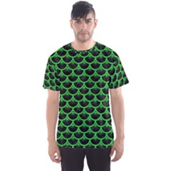 Scales3 Black Marble & Green Colored Pencil Men s Sports Mesh Tee