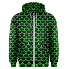 Scales3 Black Marble & Green Colored Pencil Men s Zipper Hoodie