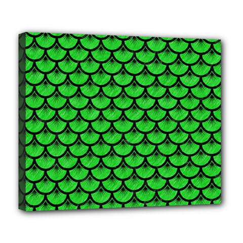 Scales3 Black Marble & Green Colored Pencil (r) Deluxe Canvas 24  X 20