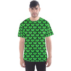 Scales3 Black Marble & Green Colored Pencil (r) Men s Sports Mesh Tee