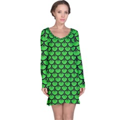 Scales3 Black Marble & Green Colored Pencil (r) Long Sleeve Nightdress