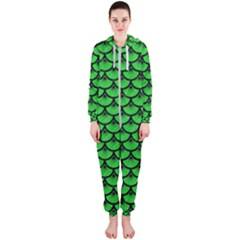 Scales3 Black Marble & Green Colored Pencil (r) Hooded Jumpsuit (ladies)