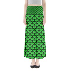 Scales3 Black Marble & Green Colored Pencil (r) Full Length Maxi Skirt