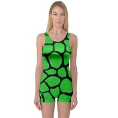 Skin1 Black Marble & Green Colored Pencil One Piece Boyleg Swimsuit