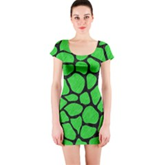 Skin1 Black Marble & Green Colored Pencil Short Sleeve Bodycon Dress