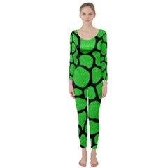 Skin1 Black Marble & Green Colored Pencil Long Sleeve Catsuit