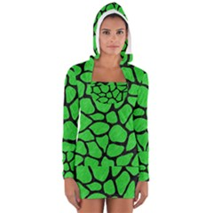Skin1 Black Marble & Green Colored Pencil Long Sleeve Hooded T Shirt