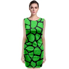 Skin1 Black Marble & Green Colored Pencil Classic Sleeveless Midi Dress