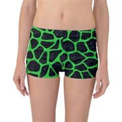 Skin1 Black Marble & Green Colored Pencil (r) Reversible Boyleg Bikini Bottoms
