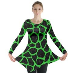 Skin1 Black Marble & Green Colored Pencil (r) Long Sleeve Tunic