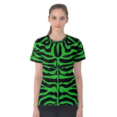 Skin2 Black Marble & Green Colored Pencil Women s Cotton Tee