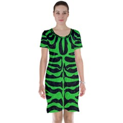 Skin2 Black Marble & Green Colored Pencil Short Sleeve Nightdress
