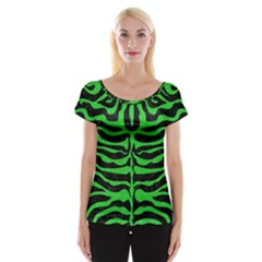 Skin2 Black Marble & Green Colored Pencil Cap Sleeve Tops