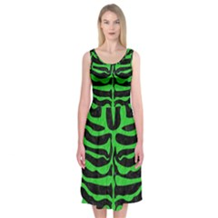 Skin2 Black Marble & Green Colored Pencil Midi Sleeveless Dress