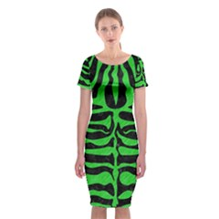 Skin2 Black Marble & Green Colored Pencil Classic Short Sleeve Midi Dress