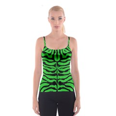 Skin2 Black Marble & Green Colored Pencil (r) Spaghetti Strap Top