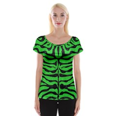 Skin2 Black Marble & Green Colored Pencil (r) Cap Sleeve Tops