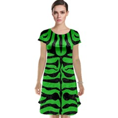 Skin2 Black Marble & Green Colored Pencil (r) Cap Sleeve Nightdress