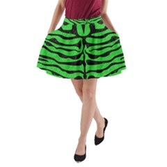 Skin2 Black Marble & Green Colored Pencil (r) A Line Pocket Skirt