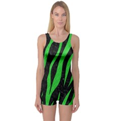 Skin3 Black Marble & Green Colored Pencil One Piece Boyleg Swimsuit