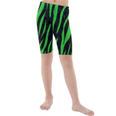 Skin3 Black Marble & Green Colored Pencil Kids  Mid Length Swim Shorts