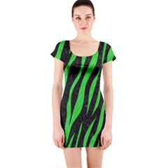 Skin3 Black Marble & Green Colored Pencil Short Sleeve Bodycon Dress